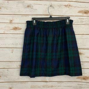 J Crew Preppy Plaid Pull On Wool Mini Skirt